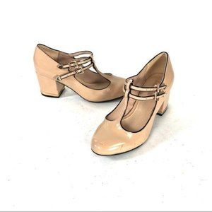 Top shop round toe tan heel patent leather pumps